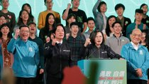Taiwan President Tsai Ing-wen and the Democratic Progressive Party's (DPP) vice presidential candidate William Lai attend the final campaign rally ahead of the elections in Taipei, Taiwan on January 10, 2020.