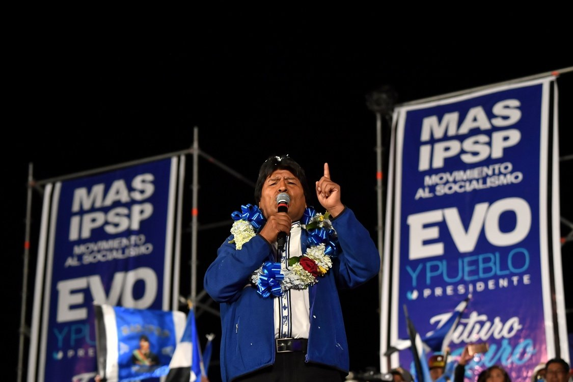 Bolivia's President and presidential candidate Evo Morales speaks during a political rally in El Alto, Bolivia