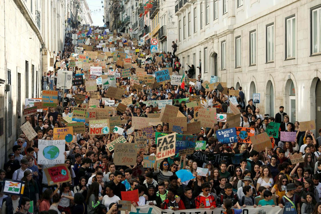 Students protest to demand action on climate change in Lisbon, Portugal