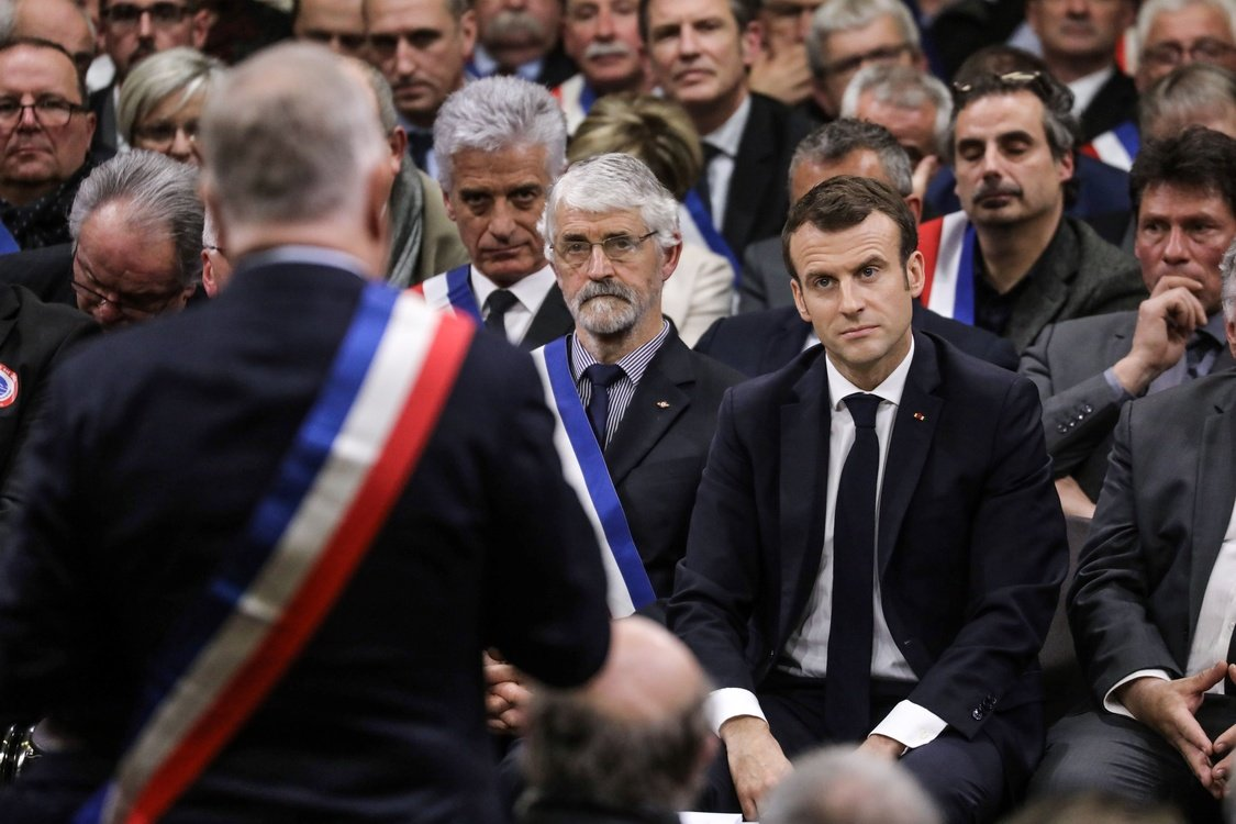 French President Emmanuel Macron attends a meeting with some 600 mayors