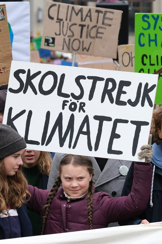 "Swedish teenaged climate activist Greta Thunberg holds up her Swedish ""School Strike for the Climate"" sign while participating in a Fridays for Future march"