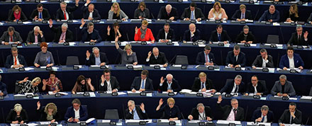 Members of the European Parliament take part in a voting session in Strasbourg, France.
