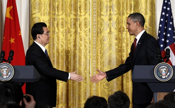 U.S. President Barack Obama and Chinese President Hu Jintao shake hands at the conclusion of their joint news conference in the East Room at the White House in Washington, January 19, 2011.