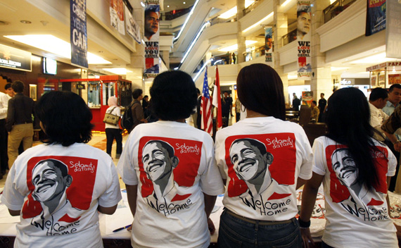 Supporters of U.S President Obama gather for party to welcome him at Fabulous Bellagio Mall in Jakarta