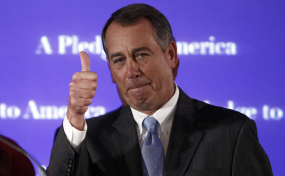 House Minority Leader John Boehner (R-OH), who broke down in tears during his speech, gives a thumbs up at the end of his address to a Republican election night results watch rally in Washington