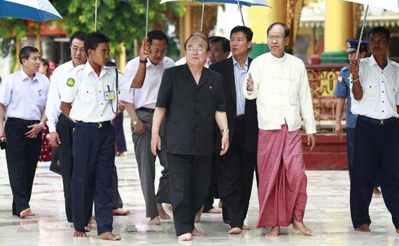 North Korea's Foreign Minister Pak Ui-chun visits the Shwedagon Pagoda in Yangon