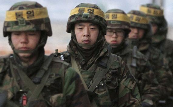 South Korean marines patrol on Yeonpyeong Island December 21, 2010.