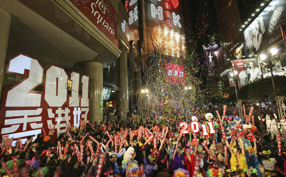 Revellers take part in New Year celebrations in Hong Kong's Times Square