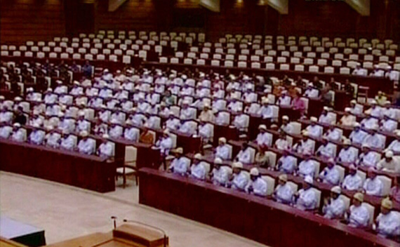 A still image taken from video shows the inaugural session of the Myanmar parliament in Naypyitaw