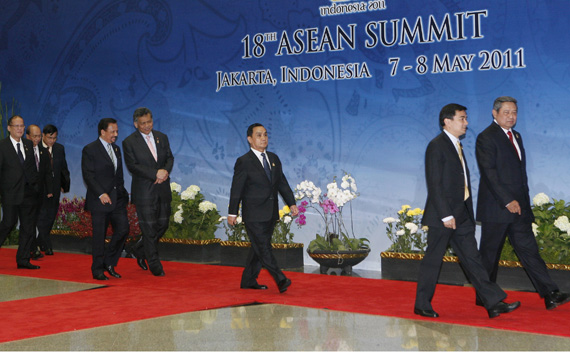 ASEAN leaders walk after they held a retreat at the 18th ASEAN Summit in Jakarta May 8, 2011.