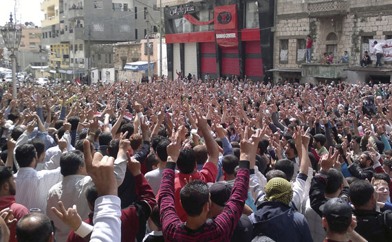 Protesters gather during a demonstration after Friday Prayer in the Syrian port city of Banias May 6, 2011.