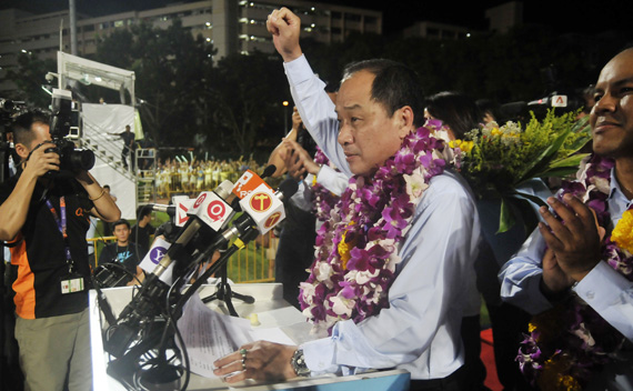 Low Thia Khiang, secretary-general of the opposition Workers' Party of Singapore addresses supporters after his team was announced as the official winners for the Aljunied group representative constituency (GRC) in the Singapore general election early May 8, 2011.