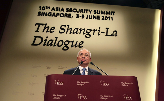 Malaysia's Prime Minister Najib Razak gives the opening keynote speech at the 10th International Institute of Strategic Studies (IISS) Asia Security Summit: The Shangri-La Dialogue in Singapore June 3, 2011.