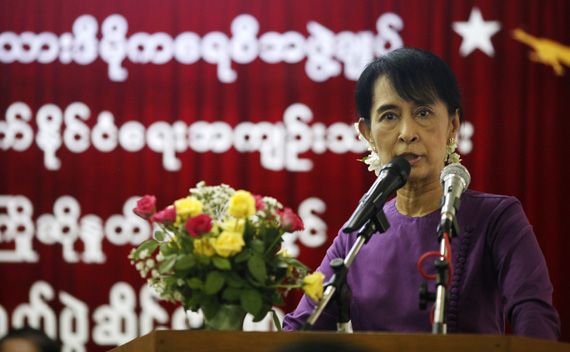 Myanmar's pro-democracy leader Aung San Suu Kyi speaks at a ceremony to welcome and acknowledge released political prisoners at the National League for Democracy (NLD) head office in Yangon May 27, 2011.