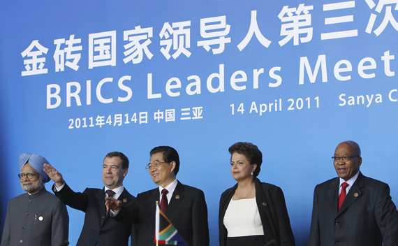 (L-R) India's Prime Minister Manmohan Singh, Russia's President Dmitry Medvedev, China's President Hu Jintao, Brazil's President Dilma Rousseff and South African President Jacob Zuma attend a joint news conference at the BRICS Leaders Meeting in Sanya, Hainan province April 14, 2011.