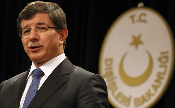 Turkey's Foreign Minister Ahmet Davutoglu talks to the media during a news conference in Ankara.