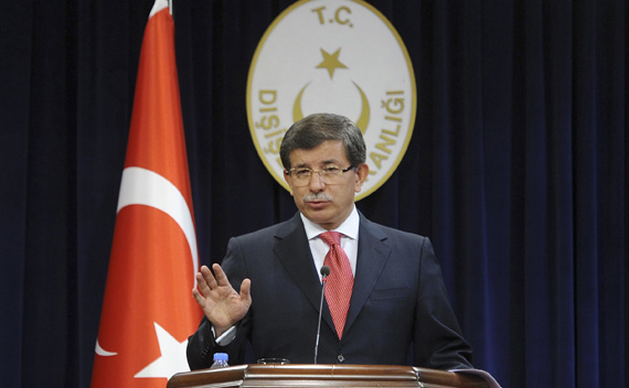 Turkey's Foreign Minister Ahmet Davutoglu speaks during a news conference in Ankara September 2, 2011. Davutoglu said Turkey was reducing its diplomatic presence in Israel and suspending military agreements after details emerged of a U.N. report on an Israeli raid on a Gaza-bound ship that killed nine Turks.