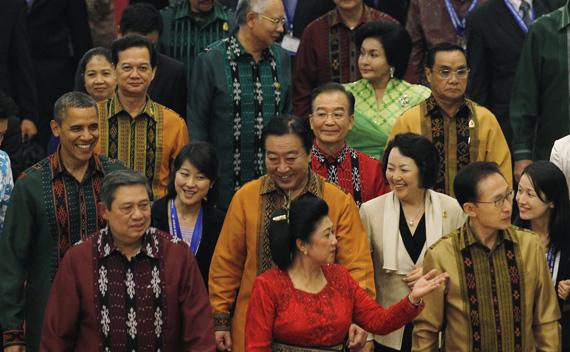 Leaders walk during dinner at the East Asia Summit gala dinner in Nusa Dua, Bali