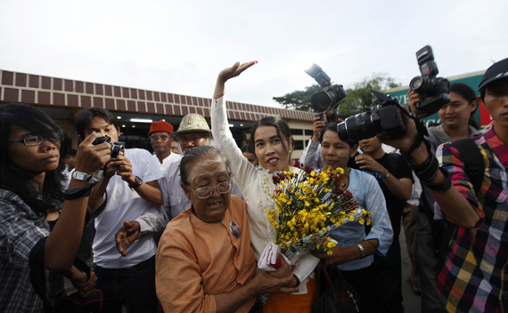Su Su Nway, a 39-year-old labor activist, arrives at Yangon's domestic airport October 16, 2011. Nway was released from a prison in northern Burma when the government granted amnesty to her and other political prisoners on October 12.