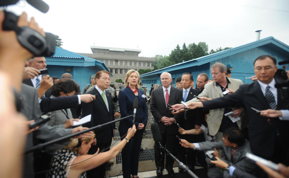 U.S. Secretary of State Hillary Rodham Clinton and U.S. Secretary of Defense Robert M. Gates brief reporters at the Truce Village in Panmunjom, South Korea, on July 21, 2010 (Courtesy State Department).