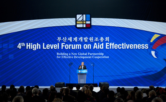 Secretary-General BanSecretary-General Ban Ki-moon addresses the 4th High Level Forum on Aid Effectiveness in Busan, Republic of Korea.