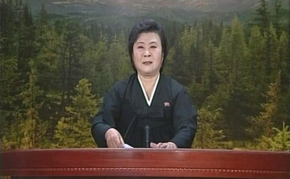 A tearful announcer dressed in black announces the death of North Korean leader Kim Jong-il on North Korean State Television in this still image from video December 19, 2011
