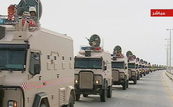 Saudi Arabian troops cross the causeway leading to Bahrain in this still image from video on March 14, 2011.
