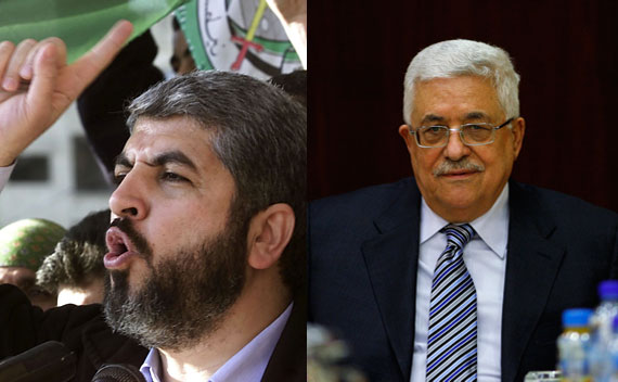 Khaled Meshal, leader of the militant Palestinian group Hamas and Palestinian President Mahmoud Abbas.