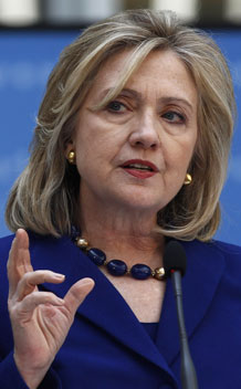 U.S. Secretary of State Hillary Clinton delivers remarks on March 22, 2011.