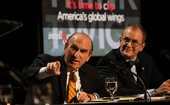 Elliott Abrams and Eliot Cohen at the Intelligence Squared debate on April 5, 2011.
