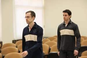 American hikers Shane Bauer (L) and Josh Fattal attend the first session of their trial at the revolutionary court in Tehran February 6, 2011.
