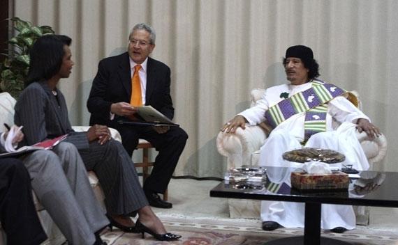 Libyan leader Muammar Qaddafi meets with U.S. Secretary of State Condoleezza Rice in Tripoli on September 5, 2008.