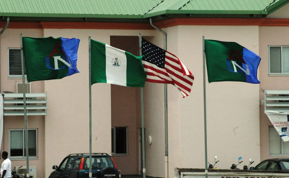 Flags fly in front of the Arts and Sciences Building, American University of Nigeria (AUN). Photo Courtesy AUN.