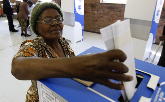 A woman casts her vote during the South African municipal elections in Soweto May 18 2011. (Siphiwe Sibeko/Courtesy Reuters)