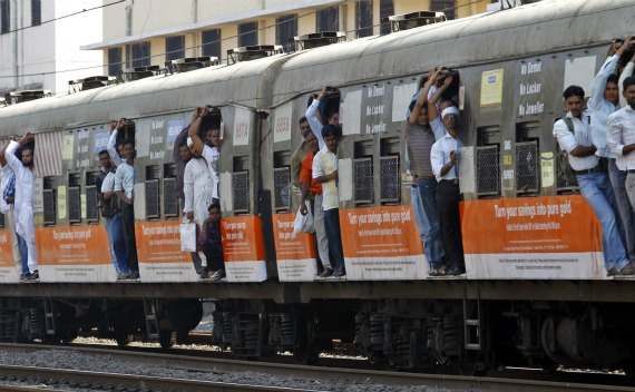 Commuters on a suburban train during the morning rush hour in Mumbai.