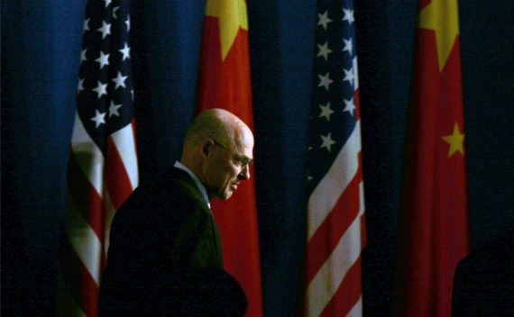 U.S. Treasury Secretary Henry Paulson leaves after making closing statements after the 5th U.S.-China Strategic Economic Dialogue in Beijing, December 5, 2008. (Jason Lee/Courtesy Reuters)