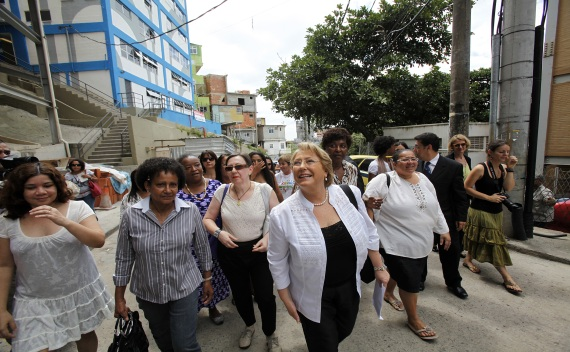 UN Women Executive Director Bachelet arrives at the headquarters for the Children Hope project, also known as