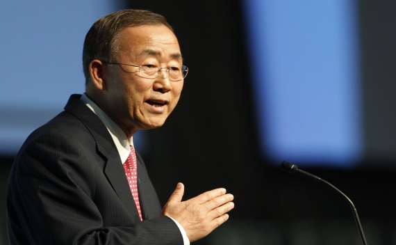 Ban Ki-Moon delivers a speech during the opening ceremony in Bern on October 16, 2011 (Michael Buholzer/Courtesy Reuters).