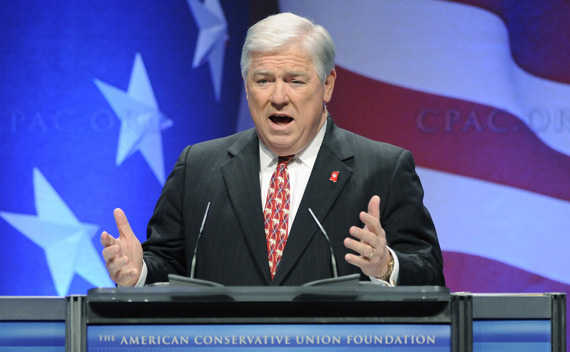Mississippi Governor Haley Barbour addresses the Conservative Political Action Conference in Washington on February 12, 2011.  (Jonathan Ernst/courtesy Reuters)