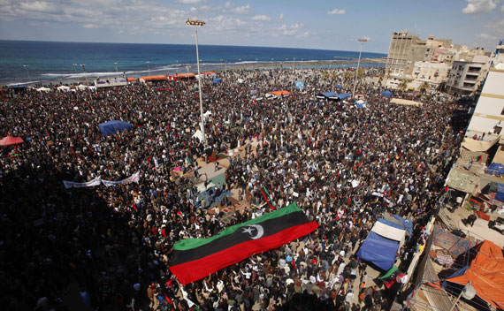 Anti-Qaddafi protesters attend Friday prayers in Benghazi