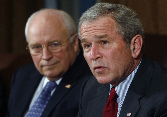 U.S. President George W. Bush and Vice President Dick Cheney meet at the White House on January 29, 2008 (Jim Young/Courtesy Reuters).