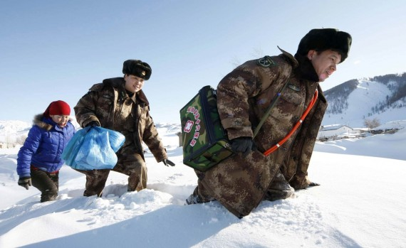 Chinese Doctors Walking in Snow