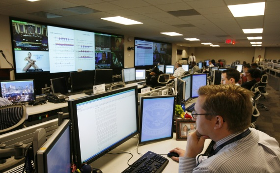 U.S. Department of Homeland Security analysts work at the National Cybersecurity & Communications Integration Center in Arlington, Virginia, on May 10, 2010 (Hyungwon Kang/Courtesy Reuters).
