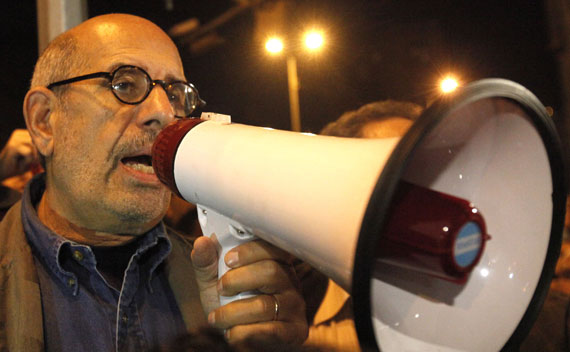 Mohamed ElBaradei speaks to protesters at Tahrir Square in Cairo