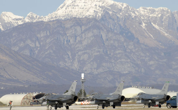U.S. Air Force F-16 Fighting Falcons return to Aviano Air Base, Italy, after supporting Operation Odyssey Dawn on March 23, 2011.