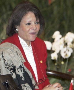 Egypt's Minister of International Cooperation Fayza Abu El-Naga before signing a trade agreement during the Developing Eight (D-8) summit on the Indonesian island of Bali May 13, 2006. (Beawiharta: Reuters)