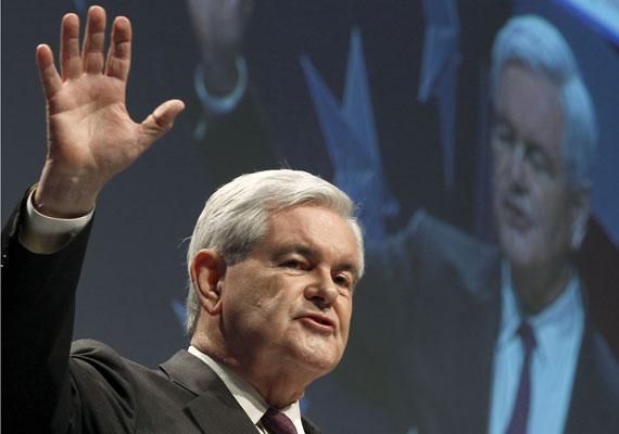 Newt Gingrich addresses the 38th annual CPAC meeting in Washington