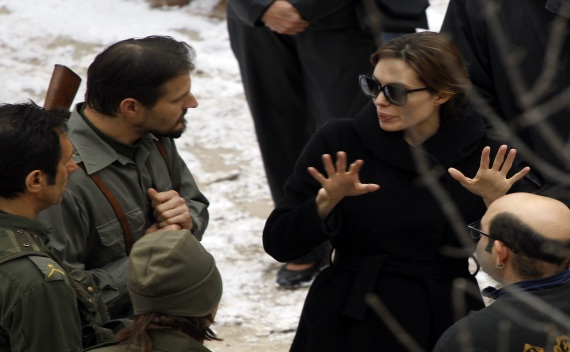 Angelina Jolie talks to actors during the filming of her yet directorial debut in Budapest on August 11, 2010 (Courtesy Reuters/Laszlo Balogh).