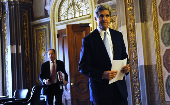 Senator Kerry walks to the Senate floor during debate over ratification of the New START treaty.