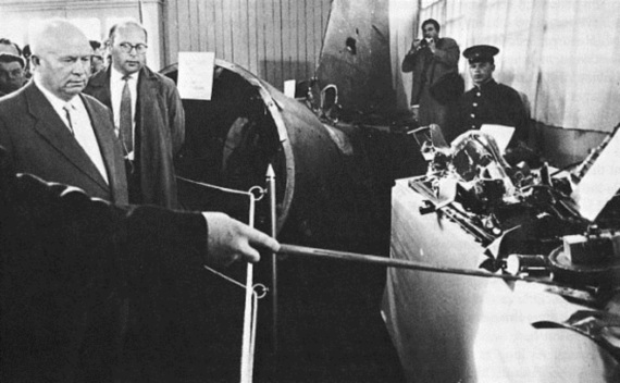 Soviet Premier Nikita Khrushchev examines the wreckage of the downed U.S. U-2 spy plane in 1960.